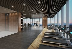 Seoul Forest, die beste Wohnung mit Blick auf den Han River Acro Wool Forest, die im Juli verkauft werden soll Ad Home, At Home Gym, Gym Design, Fitness Design, Seoul, Bungalow, Gym Center, Hotel Gym, Gym Interior