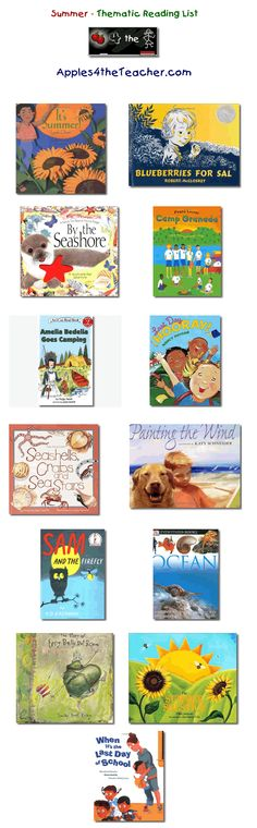 Suggested thematic reading list for Summer - Summer books for kids.