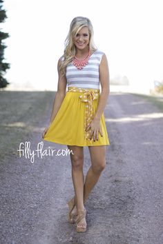 Spring Perfection Dress with Tie - Great choice for spring - yellow, polka dots, and stripes! Available at Filly Flair!