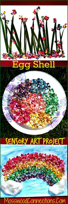 Egg Shell Sensory Art Project Use eggshells to have a fun sensory experience while creating art.