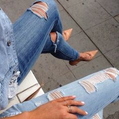 Ripped jeans + nude heels