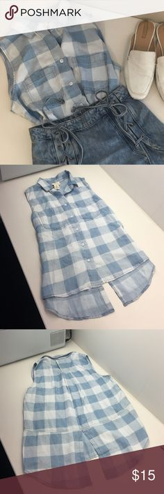 AJ Andrea Jovine Light Blue Check Top AJ Andrea Jovine blue plaid top size XS. Fit is definitely a bit big. Never worn. Removed tags but ended up never wearing it. Super cute with denim as pictured. Feature slit in back and two pockets. Super soft/super cute! Will give great deal for all pieces pictured in cover shot! AJ Andrea Jovine Tops Button Down Shirts