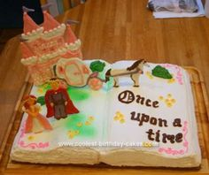 Homemade Fairytale Book Birthday Cake: For my daughter's fairy tale themed birthday party, at first she wanted a castle cake.  But then decided it should look like a big open storybook with