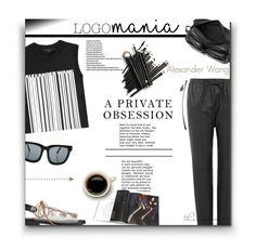 """Alexander Wang - LogoMania"" by sherieme ❤ liked on Polyvore featuring moda, Alexander Wang, Linda Farrow, AlexanderWang y logomania"