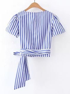 Striped Wrap Blouse Women Blue Front Knot Shirt Brief Elegant Summer Tops Fashion V Neck Short Sleeve Cute Blouse Broadcloth Fabric Cotton Blends Cute Blouses, Blouses For Women, Casual Outfits, Fashion Outfits, Crop Blouse, Knotted Shirt, Summer Tops, Sewing Clothes, Pretty Outfits