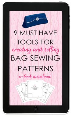 GET THE EBOOK must have bag pattern tools for bag sewing patterns handbag patterns purse patterns Purse Patterns Free, Handbag Patterns, Bag Patterns To Sew, Sewing Tools, Sewing Hacks, Sewing Tutorials, Sewing Ideas, Wallet Pattern, Tote Pattern