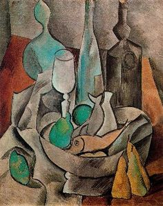 Pablo Picasso: Still Life with Fishes and Bottles, 1908