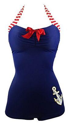 b22ce89b9e COCOSHIP Navy Blue & Red 50s Retro Nautical Striped Vintage One Piece  Swimwear #fashion