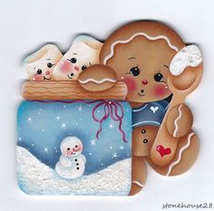 HP GINGERBREAD with Marshmallows FRIDGE MAGNET #Handpainted