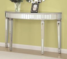 Wildon Home® This half oval shape console table will sure stand out in your entryway or living room as a focal point. Covered in mirror panels. Regency Furniture, Cottage Furniture, Mirrored Furniture, Furniture Dolly, Mirrored Desk, Buy Furniture Online, Cheap Furniture, Discount Furniture, Furniture Sets
