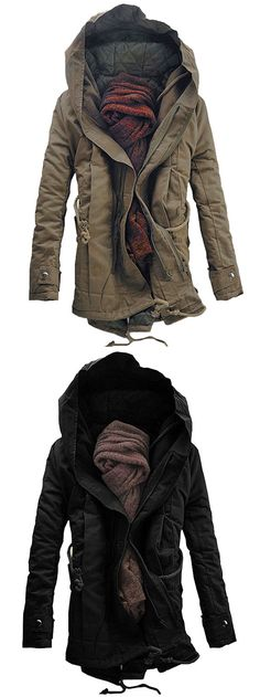 Hooded Double Zip Up Padded Parka Coat Fall Fashion Outfits Looks Cool, Looks Style, Winter Wear, Autumn Winter Fashion, Fall Fashion, Vintage Accessoires, La Mode Masculine, Mens Fashion, Fashion Outfits