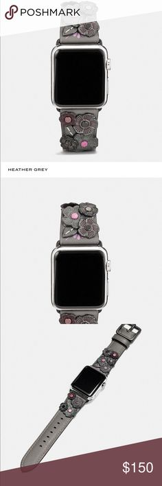 🌹Coach Apple Watch Tea Rose Band🌹 This is a BEAUTIFUL Heather Grey Tea Rose Apple Watch ⌚️ Band it is part of the iconic 1941 Coach Collection  Made of Glove tanned leather. This pairs beautifully w/ the iconic Coach Rogue. Fashion meets technology! Accented w/ tea rose appliqué  This is size S/M it was a gift but , a bit too snug for me 😔sadly so, I must pass it on  🚨NO TRADES ON THIS UNLESS IT IS FOR AN ITEM ON MY ISO WHICH JUST HAPPENS TO BE A ⌚️🙃🚨 ⚠️THIS LISTING IS FOR THE BAND…