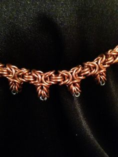 Copper Byzantine Chainmaille Necklace with seed bead points by ElizabethTiffany on Etsy