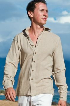Always & Forever Bridal Mens Linen Long Sleeve Shirt