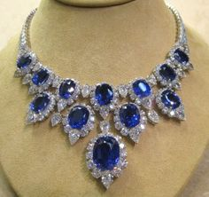 00680 NK Ear No Heat Sapphire Diamond Platinum Necklace - Dripping With Diamonds - DilettanteDeconstructed.com