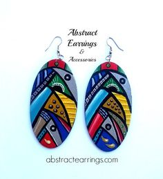 """""""Parade"""" Abstract Earrings & Accessories #hand #painted #handpainted #abstract #art #wood #jewelry #eye #unique"""