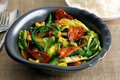 Sticky pork, Chinese cabbage and cashew stir-fry