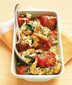 Roasted Tomatoes with Shrimp and Feta.