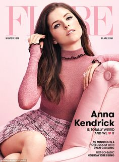 Beautiful brunette: Anna Kendrick dresses in a Celine top and Gucci miniskirt as she covers the front of Flare magazine's winter edition