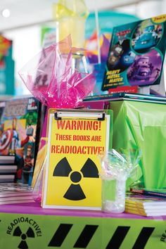 "Got some dangerously good books on your fair? Draw attention to them with ""Readoactive"" signs!    Check out your Book Fair Chairperson Toolkit for more tips and tricks."