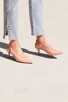rivet embellished ankle-slit jeans and under $100 pink slingback kitten heels