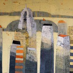 """darksilenceinsuburbia:    Paul Balmer. Urban Sun Down. Oil on canvas, 64 x 64""""."""