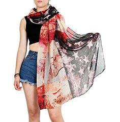NISHAER Women's Vintage USA American Flag Print Scarf Multicoloured at Amazon Women's Clothing store: $10.99