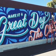 ✨Make it a great day or not, the choice is yours ✨ - my elementary school motto I painted into a mural last September ☺️ Currently brainstorming what I want to paint for my next mural at @first.coat in Australia this May 🤔💡✍🏼️ Tbh I think it's a toss up between something about feminism or food right now 👑🍕