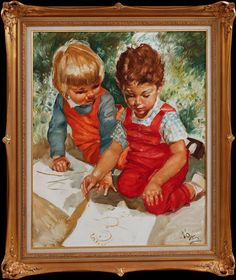 CHARLES ROKA. Ritande barn, olja på duk, signerad. Oil On Canvas, Auction, Barn, Paintings, Antiques, Children, Drawings, Image, Antiquities