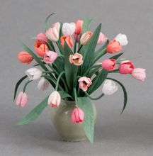 Pink coral tulips - Dollhouse Miniature - Pepper Wood Miniatures