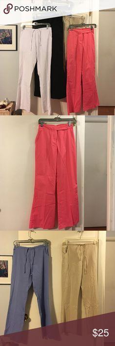 Scrubs!  5 bottoms Greys anatomy black. Dickies white. Dickies blue. Dickies khaki. Los Angeles Rose coral. scrubs bundle Pants