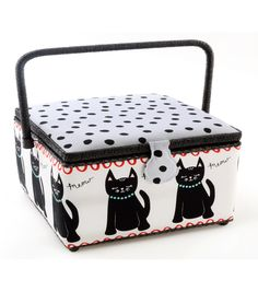 Sewing Basket | Large Square Black Cat | Perfect for the cat lover in our family