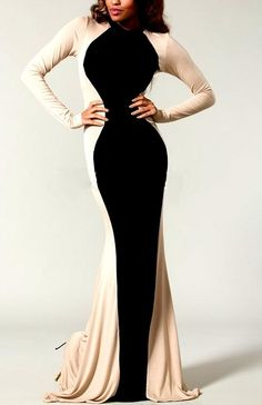 Shop Kami Shade' - Plus Size Glam Rock Black Ivory Couture Long Sleeve Maxi Dress, $169.00 (http://www.kamishade.com/haute-plus-size-dresses-more/plus-size-glam-rock-black-ivory-couture-long-sleeve-maxi-dress/)