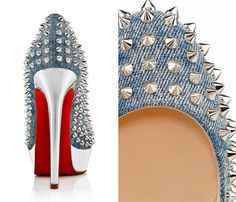 (2) Womens Bianca Spikes Classic Denim Pumps in Silver Metallic Stabs - Christian Louboutin Denim Footwear Picks - Womens & Mens Made in Denim Shoes, Pumps, Platforms, Flats & Loafers