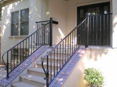 Amazing Wrought Iron Railing For Home Decor Ideas: Handrails For Steps And Wrought Iron Railing For Outdoor Stair Railings Also Front Stoops With Front Entry Door And Exterior Siding Color Plus Window Treatment With Front Porch And Exterior Design