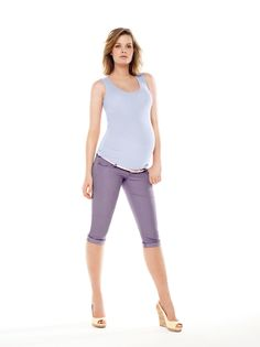 Fashion colored maternity capri by Thyme Maternity