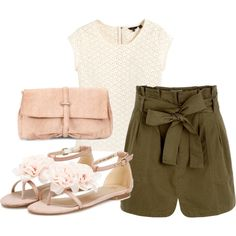 adorable for summer! the shorts have that military feel but the outfit is still fantastically girly with the accessories