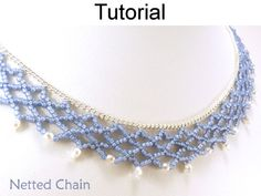 Beaded Netting Stitch Embellished Chain Necklace Beading Tutorial Pattern | Simple Bead Patterns
