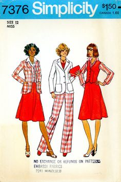 Vintage Sewing Pattern - 1976 Misses Unlined Jacket, Vest, Skirt and Pants, Simplicity 7376 Size 12 Bust 34