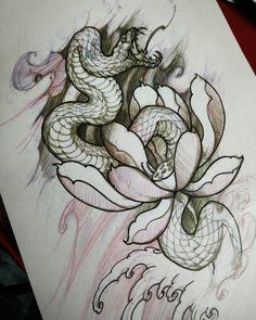 Snake sketch in progress. #chronicink #tattoo #asiantattoo #illustration #snake #irezumi