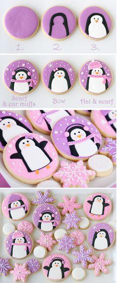 cute cookies Winter Pinguin Cookies Tags:cookies,diy,food,winter,christmas,sugar cookies
