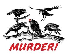 A Murder of Crows dry brush illustration and calligraphy for Headline T-shirts. Work In New York, Dry Brushing, Victoria And Albert Museum, Crows, The Body Shop, Book Activities, Behance, Calligraphy, Graphic Design
