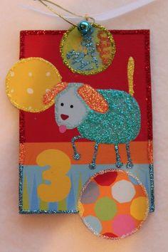 Cuddly Dog Kids Wood Slice Ornament Children Birthday Gift Signed Lichtenstein