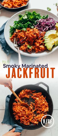 Less than 30 minutes hands-on prep, leave it to marinade, sauté throughout the week! BIG flavo(u)r Canned Jackfruit, Vegetarian Recipes, Healthy Recipes, Savoury Recipes, Lunch Recipes, Vegetable Recipes, Free Recipes, Vegetarian, Vegan Recipes