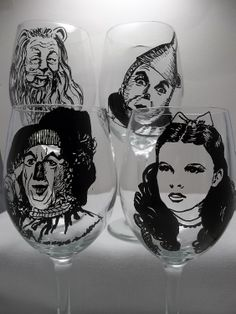 Wizard of Oz Wine Glass, Movie Classics, painted wine glass. $76.00, via Etsy.