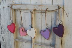 Set of Three Chunky heart ornaments/ Valentine by MyRusticStyle