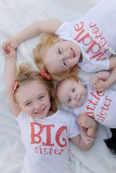 Big Sister, Middle Sister, Little Sister. $20.00, via Etsy. So cute