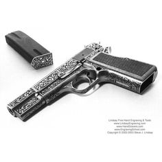Guns engraved by Steve Lindsay ❤ liked on Polyvore featuring weapons, guns, accessories, armas and other