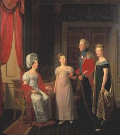 Frederick VI and Queen Marie with  Princesses Caroline and Vilhelmine. Painted by C.W. Eckersberg, 1821.