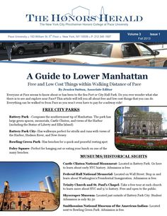 Fall 2013 Honors Newsletter  September-December 2013 Pforzheimer Honors College Newsletter